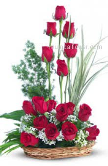 Red rose speaks not only of love but it also expresses the deepest feelings and desires of the heart. Red rose symbolizes passion and longing. Arrangement of 24 Red Roses nicely decorated with Greens.