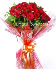 Red roses is used to express your love. give Bunch of 25 Red Roses nicely decorated with Ribbons to express your love to your loved ones.