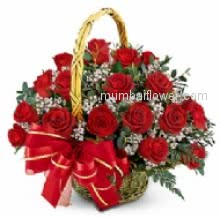 A magic Basket of 30 Red Roses nicely decorated with fillers and ribbon will do its magic on love.