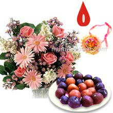 Bunch of 10 Mixed Flowers and 1 kg. Gulab Jamun with 1 pc. Rakhi