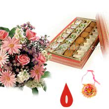Bunch of 10 Mixed Flowers and Pack of Half Kg. Mixed Mithai with 1 pc. Rakhi