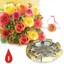 Bunch of 12 Mixed Color Roses and Pack of Half Kg. Kaju Katli with 1 pc. Rakhi