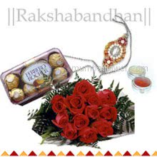 Bunch of 12 Red Roses and box of 16 pc Ferrero Rocher chocolate with 1 pc. Rakhi