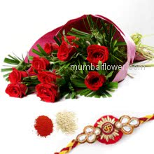Bunch of 10 Red Roses with Plastic Cellophane packing and 1 pc. Rakhi