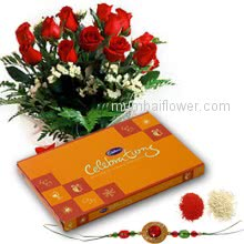 Bunch of 10 Red Roses with Plastic Cellophane packing and Small Cadbury Celebration with 1 pc. Rakhi. Please note : Rakhi Design / Basket / Boxes /  Container may be replaced in case of unavailability/out of stock.
