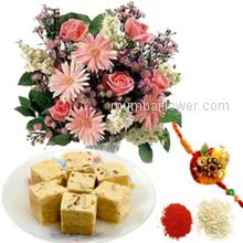 Bunch of 10 Mixed Flowers and  500 gm Sone Papri With 1 pc. Rakhi