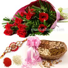 Bunch 10 Red Roses with Plastic Cellophane packing and Pack of Half kg. Mixed DryFruit and 1 pc. Rakhi