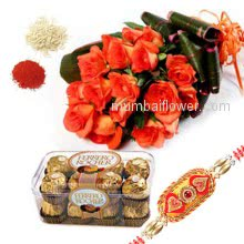 Bunch of 12 pink Roses and 16 pc Ferrero Rocher chocolate box with 1 pc. Rakhi