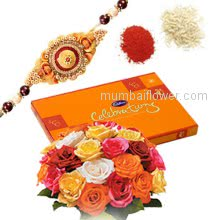Bunch of 20 mix Color Roses and Small Cadbury box with 1 pc. Rakhi