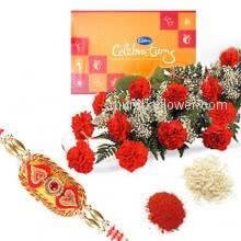 Bunch of 12 Red Carnations and Small Cadbury Celebration box with 1 pc. Rakhi