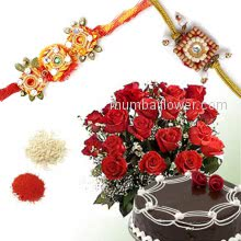 Half kg. Chocolate Cake and Bunch of 15 Red Roses with 2 pc. Rakhi