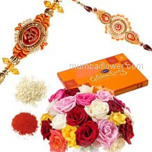 Bunch of 12 Mix Color Roses and Small Cadbury Celebration box with 2 pc. Rakhis
