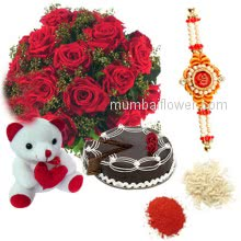 Bunch of 12 Red Roses Half kg Chocolate Cake, 6 Inch Teddy Bear with 1 pc. Rakhi