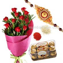 Rakhi Package with  Sweetness, Bunch of 12 Red Roses, 200gm Ferrero Rocher with one Rakhis & Roli Chawal. Best Gift for Raksha Bandhan