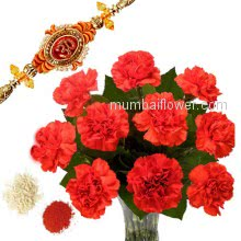 Rakhi Package with Bunch of 10 Red carnations with one Rakhi & Roli Chawal. Best Gift for Raksha Bandhan