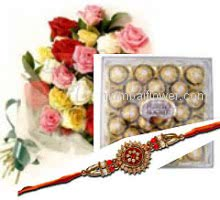 Rakhi with Bunch of 20 Mixed Color Roses with 24 pc Ferrroro Rocher Combo with free Rakhi. Please note : Rakhi Design / Basket / Boxes /  Container may be replaced in case of unavailability/out of stock.