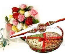Rakhi with Bunch of 12 Mixed Color Roses and Half Kg. Mixed Dry Fruit Box with 1 Free Rakhi