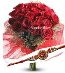 Rakhi with Bunch of 30 Red Roses decorated with fillers and Ribbons and 1 Free Rakhi