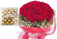 Bunch of 24 Red Roses & 24 pcs Ferrero rocher Box