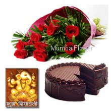 Hamper includes bunch of 10 red roses and 500gm eggless chocolate cake with diwali greeting card.