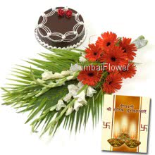 Hamper includes bunch of 10 mixed seasonal flowers with 500gm chocolate cake with diwali greeting card.