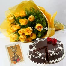 Hamper includes 1kg Eggless Chocolate Cake with bunch of 10 yellow roses and diwali greeting card.