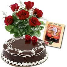 Hamper includes 500gm chocolate cake and bunch of 10 Red Roses with Diwali Greeting Card.