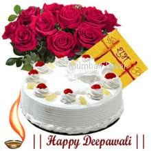 Bunch of 12 roses, half kg pineapple cake and  Diwali Greeting card