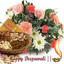 Pack of 500 gms Mixed dry fruits, Bunch of 12 Seasonal flowers and Deepawali greeting Card.