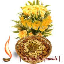 Pack of 500 Gms of Mixed dry fruits with Bunch of 12Yellow Roses.