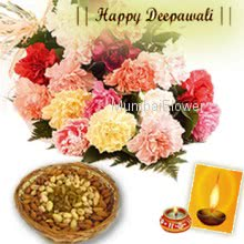 A bunch of 12 mix carnations along with pack of 500gm Mix dryfruits and a deepawali greeting card.
