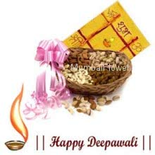 Hamper includes Pack of 1kg mixed dryfruits with diwali greeting card.