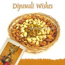Hamper includes Pack of 250gm mixed dryfruits with diwali greeting card.