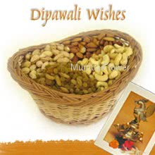 Hamper includes pack of 500gm mixed dryfruits with diwali greeting card.