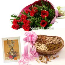 Hamper includes Pack of 500gm dryfruits with bunch of 10 red roses and a Diwali greeting card.