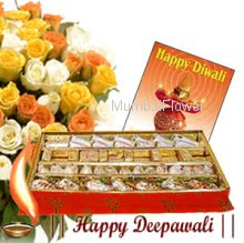 250 gms of Mixed sweets with Bunch of 12 Mixed colored Roses & Deepawali greeting Card.