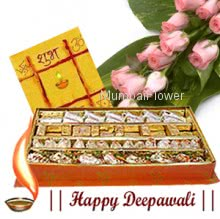 Pack of 250 gm of Mixed sweets with Bunch of 12 Pink roses & deepawali greeting card.