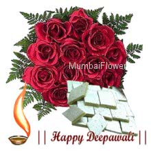 Bunch of 12 Red Roses and pack of 500 Gms kaju Katli.