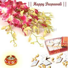 A bunch of 10 purple orchids along with 500gm Kaju Katli along with free decorative diya