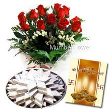 Hamper includes bunch of 10 Red Roses and Pack of 1kg Kaju Katli sweets with Diwali greeting card.