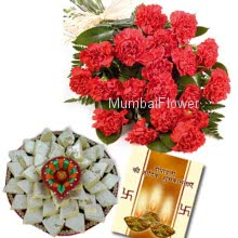 Hamper includes pack of 1kg Kaju Katli, and bunch of 10 Red Carnations with diwali greeting card.