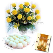 Hamper includes 1kg rasgulla and bunch of 10 yellow roses with diwali greeting card.