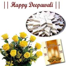 Hamper includes bunch of 10 yellow roses and pack of 500gm kaju katli sweets with Diwali greeting card.