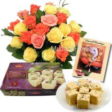 Hamper includes bunch of 10 mixed color roses and 1kg Sone Papri sweets with Diwali greeting card.