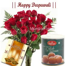 Hamper includes bunch of 20 Red roses and 1kg gulab jamun with diwali greeting card.