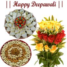 Hamper includes Pack of 250gm dryfruits , Pack of 500gm kaju katli, and bunch of 10 red and yellow roses with diwali greeting card.