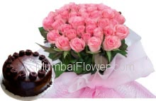 Bunch of 30 Pink Roses and Half Kg Chocolate Cake