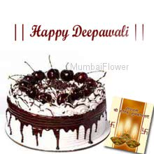 1kg eggless Blackforest cake with diwali greeting card.