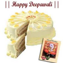 1kg eggless Butterscotch cake with diwali greeting card.