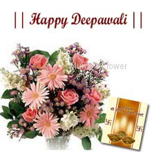 Bunch of 10 mixed seasonal flowers nicely wrapped with seasonal fillers and deepawali greeting card.